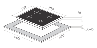 Комплект Maunfeld: панель MGHS.64.77S + газовый шкаф MGOG.673S