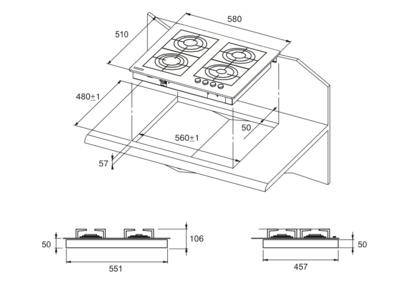 Комплект Kuppersberg: панель FQ 663 C + газовый шкаф SGG 663 C
